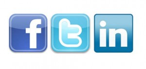 Facebook, Twitter & LinkedIn social network icons