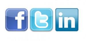 Facebook, Twitter & LinkedIn social network icons
