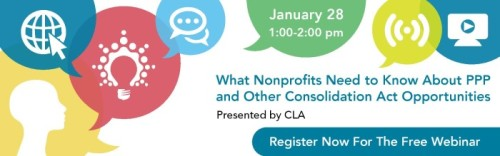 Free Webinar: What Nonprofits Need to Know About PPP and Other Consolidation Act Opportunities @ Virtual